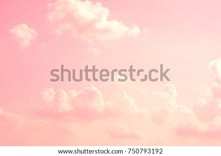 Pink sky background with white clouds. #750793192