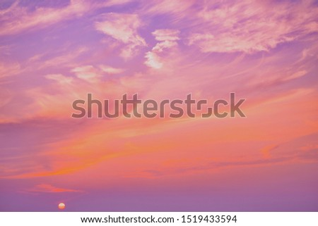 Pink sky,Dusk cloud in the evening,idyllic peaceful nature sunlight background.