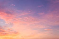 Pink sky,Evening Dusk cloud on Sunset,idyllic nature cloud,dramatic sunlight with majestic peaceful sky in summer season.
