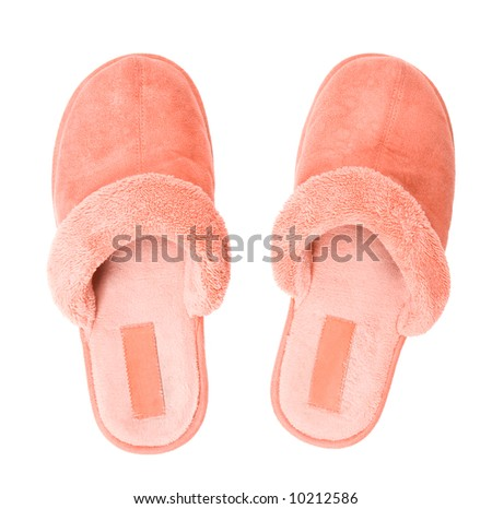 Pink slippers top view. Isolated on white.