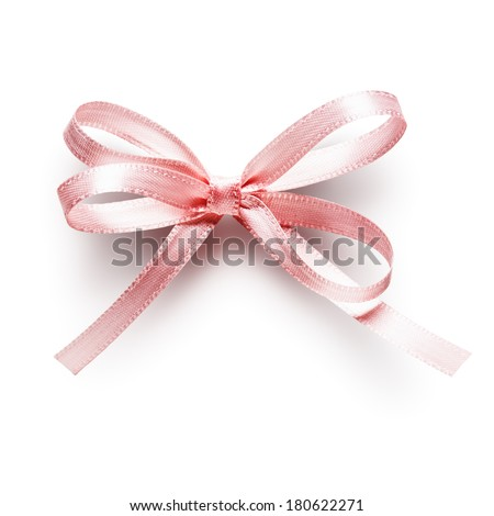 Pink small ribbon bow isolated on white background, clipping path included