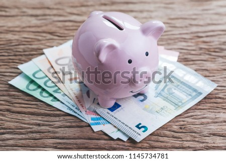 Pink smile savings piggy bank on Euro banknotes on wooden table, European economy or financial status concept for EU.