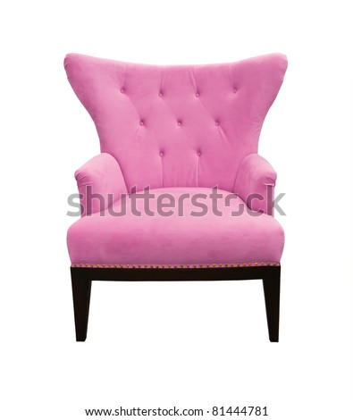 Pink sofa isolated on white background