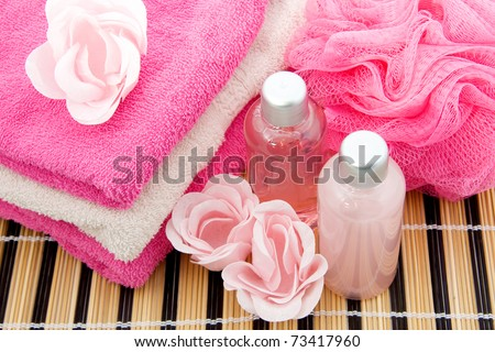 Pink  spa accessory in closeup - stock photo