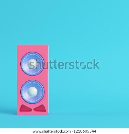 Pink speaker on bright blue background in pastel colors. Minimalism concept. 3d render