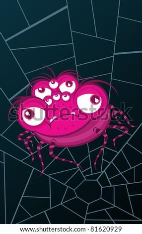 Pink spider on blue web.