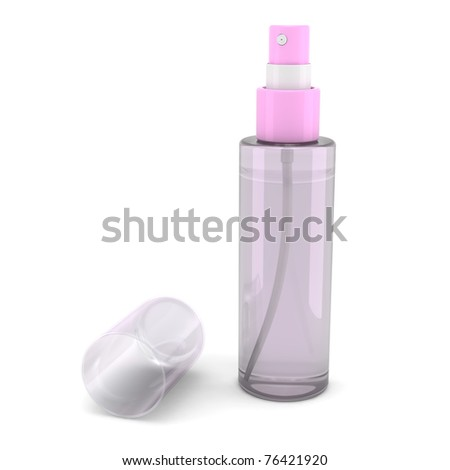 Pink spray bottle with toilette water isolated