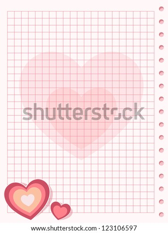 Pink squared paper sheet background with heart. Raster version