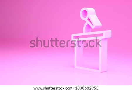 Pink Stage stand or debate podium rostrum icon isolated on pink background. Conference speech tribune. Minimalism concept. 3d illustration 3D render. Stock photo ©
