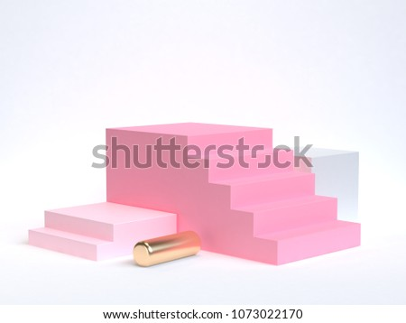 pink staircase-stairway 3d rendering white background soft pink gold geometric shape