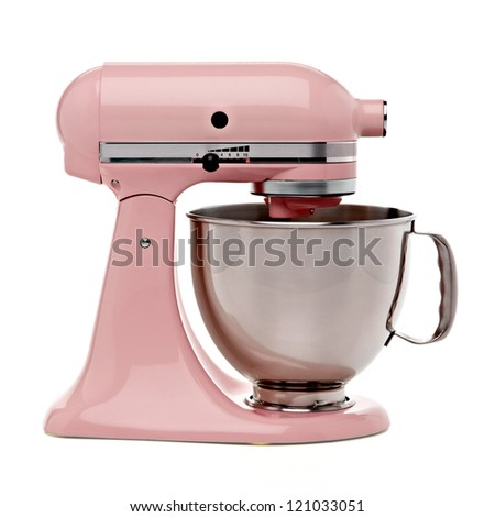 Pink stand mixer with clipping path