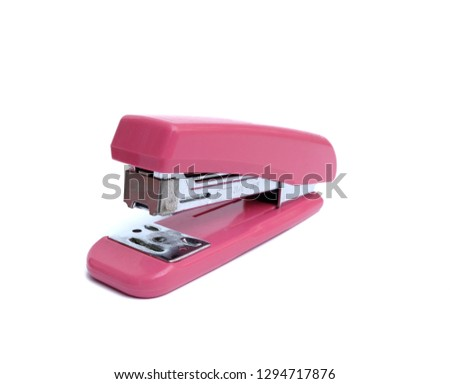 Pink Stapler isolated on white background.