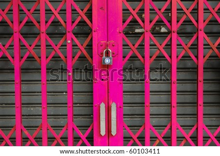 Pink steel door can be used for interior design