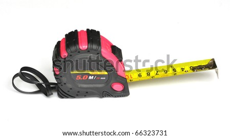 Pink steel tape measure on white background