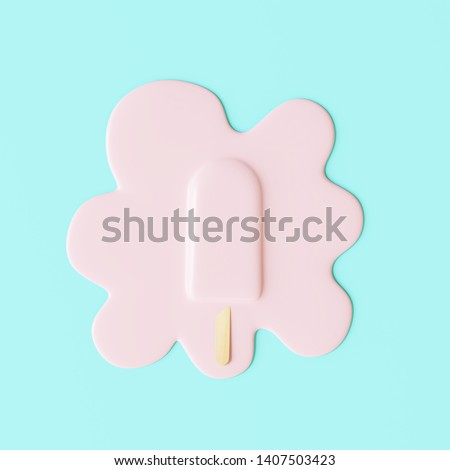 Pink stick ice cream melting on pastel blue background. Minimal summer concept. 3d rendering