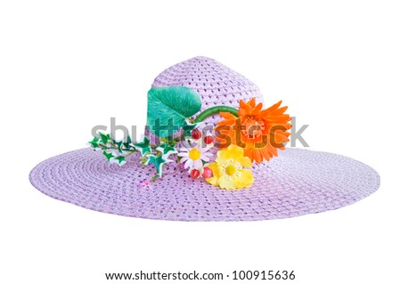 Pink straw hat with flower on white background
