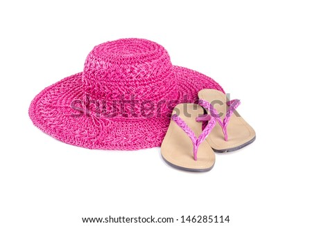 Pink Straw Hat with Pink Flip Flops Isolated on White