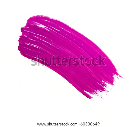 pink stroke of the paint brush isolated on white