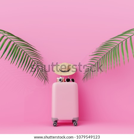Pink suitcase with traveler accessories and coconut leaves on pastel pink background. travel concept.minimal style.
