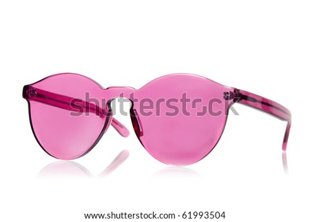 Pink sunglasses isolated on white - stock photo