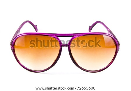 Pink sunglasses isolated on white background - stock photo