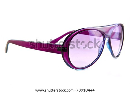 Pink sunglasses isolated on white background - stock photo