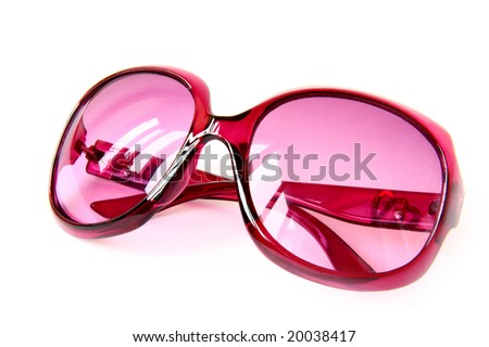 pink sunglasses on white  look