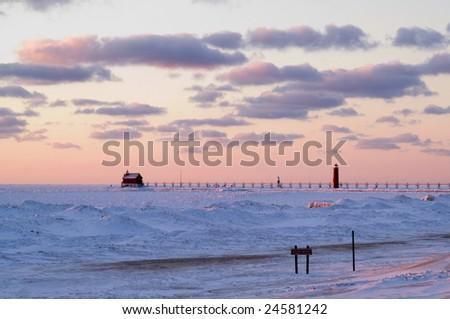 Pink sunset at Grand Haven, MI