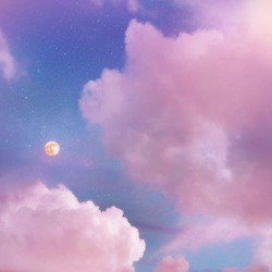 Pink sunset clouds sky with full moon and stars. Dream magic evening sky with moon clouds. Blue hours sky