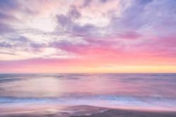 pink sunset from Ishikari, Hokkaido, Japan