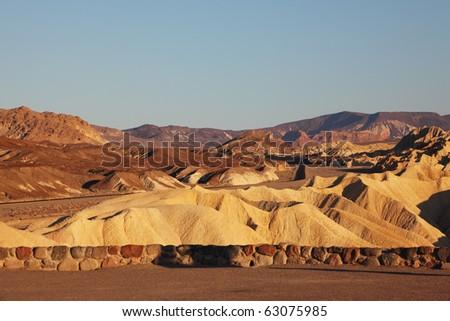 Pink sunset in Death Valley. Famous Zabriskie - Point