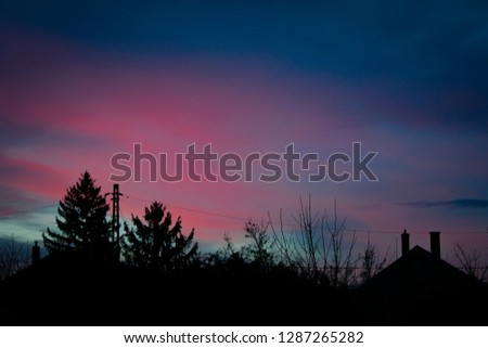 Pink sunset with tree and house silhouette