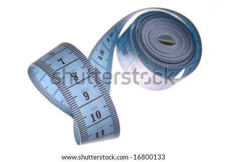 Pink tape-measure isolated on white background with photographic method.