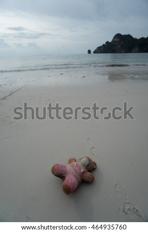 Pink teddybear toy lying abandoned on a beach over sea and sky background