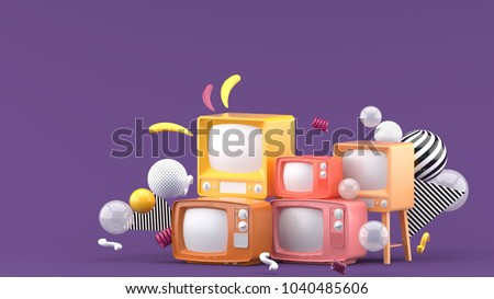 Pink television among the colorful balls on the purple background.-3d render.
