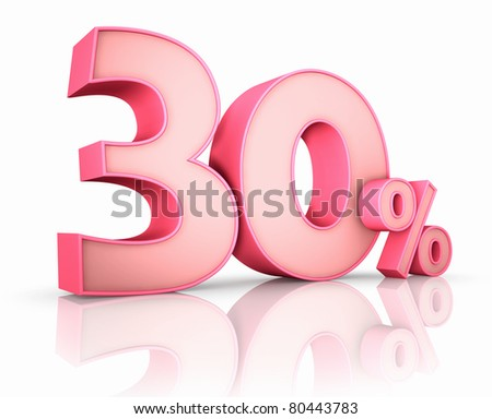 Pink thirty percent, isolated on white background. 30%