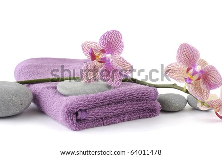 Pink towel for body care (SPA concept)