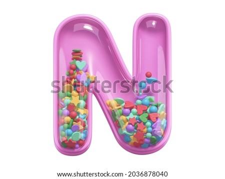 Pink toy font. Letter N. 3d rednering Foto stock ©