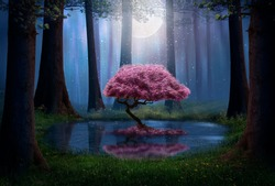 Pink tree and pond in the forest at night. Photomanipulation.