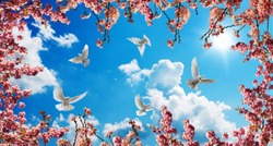 pink trees and doves in sunny sky background