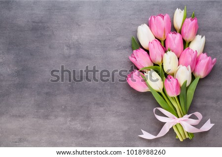 Pink tulip and ribbon, pink eeg. Easter day background. #1018988260