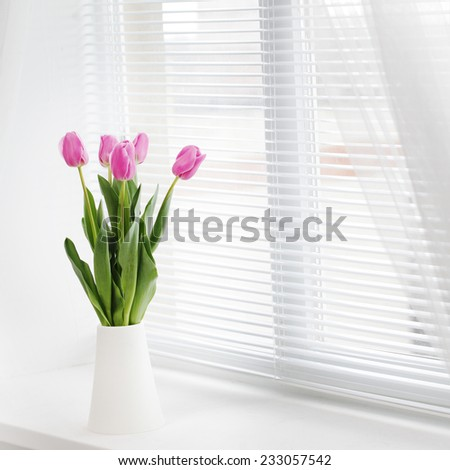 pink tulip in whit room #233057542