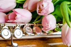 Pink tulips and flute music