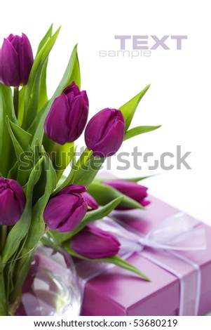 Pink tulips and gift box on a white background. With sample text.