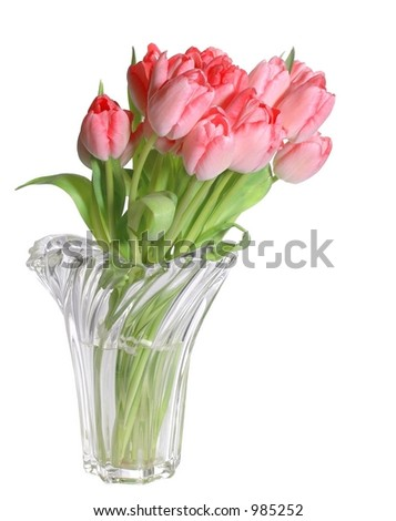 Pink tulips in crystal vase isolated on white