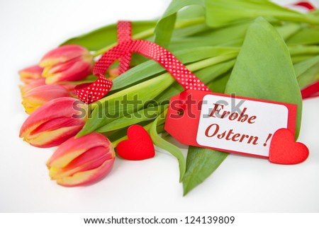 "Pink tulips with a "" Happy Easter"" Greeting Card"