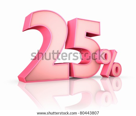 Pink twenty five percent, isolated on white background. 25%