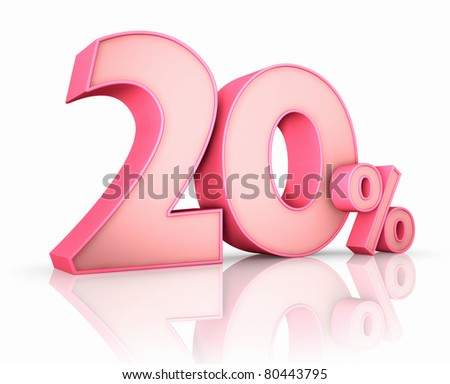 Pink twenty percent, isolated on white background. 20%