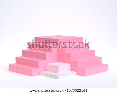 pink two staircase-stairway 3d rendering white background