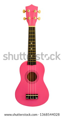 Pink ukulele isolated on white background.Some countries call it ukelele.Is a kind of instrument Looks like a guitar with 4 strings.shape same the guitar. #1368544028
